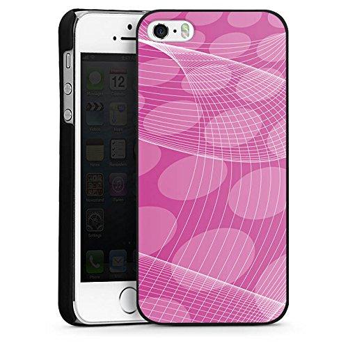 Apple iPhone 4 Housse Étui Silicone Coque Protection Rose vif Motif Motif CasDur noir