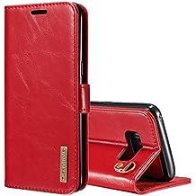 Fundas y estuches para teléfonos móviles, DG.MING para Samsung Galaxy S8 + / G955 funda de cuero genuino desmontable con tapa vertical magnética con soporte y ranuras para tarjetas y cordón ( Color : Rojo )