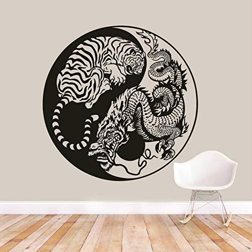 JXAA Hidden Dragon Vinyl Wandtattoo Hockender Tiger Entfernbare Wandaufkleber Asiatischen Mythologie Stil Wand Poster Yin Yang Wandkunst 57x95 cm (Asiatische Schule)