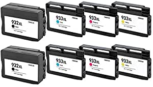 Prestige Cartridge HP 932XL / HP 933XL Pack de 8 Cartouches d'encre compatible avec Imprimante HP Officejet Séries, Noir/Cyan/Magenta/Jaune