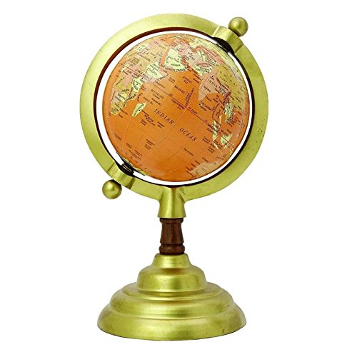 Aone India World Globe with Goldend Color Stand Educational Learning Rotating Desktop Globe - Perfect for Kids, Geography Students, Teachers and More - Classic Design - 4 Inches