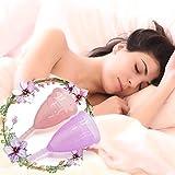 2er Menstruationstasse Set - Exqline Menstruationstasse aus Medizinischem Silikon für Normale bis Starke Blutung mit Aufbewahrungsbeutel Lila Rosa Größe L -