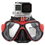 TELESIN GoPro plongée masque de plongée Scuba w/Support Compatible avec GoPro Hero3, 3+ et 4/4Session, Accessoire caméra embarquée pour Tuba/Masque de natation plongée go-pro rouge Rouge