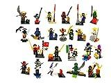 Gargoyle WSN-2001 - 22 Mini Ninja Spielzeug - Baustein Mini-Spielset mit Basen und Zubehör - Verschiedene Charakter Minifiguren Set