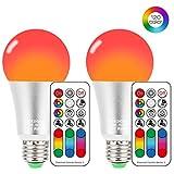Bombilla LED Colores con Mando, E27 RGBW LED Bombillas Regulable Cambia de Color 10W, RGB 12 Color, Función de Memoria Dual, para Decoración para el hogar Bar Partido KTV Etapa Efecto luces