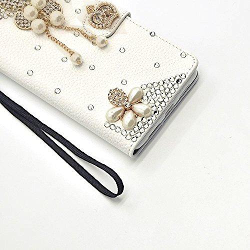 Für iPhone 7 Plus Hülle,Vandot Kratzfest Drop Protection Schutzhülle für iPhone 7 Plus 5.5 inch Ledertasche PU Leder 3D Handgefertigt Handmade Flip Case Cover Luxus Bling Diamant Glitzer Strass Krista Diamant 12