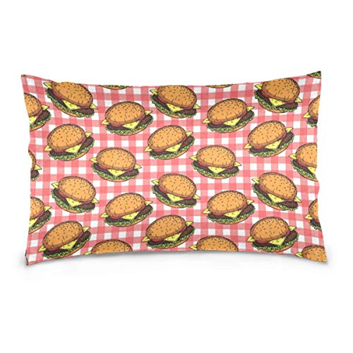 Rghkjlp Kissencases American Burger Cheese Square Throw Kissen case for Sofa Bedroom 20In x 30In