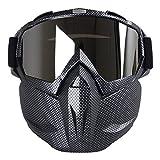 Kobwa - maschera per moto con occhiali, antinebbia, antivento, casco a viso aperto per motocross, sci, equitazione, sport all'aperto, Carbon Fiber