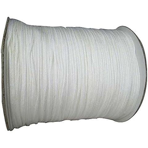 jennysun2010qualità in Satin di seta filo di nylon intrecciato corda nodi corda 0,4mm 0,6mm 0,8mm 1mm 1.5mm 2mm perline braccialetto collana Design Crafts, Bianco, 0,8 mm