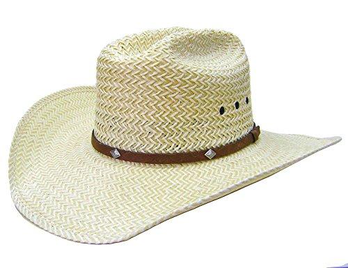 39db9bd88 Modestone 2 Tone Straw Bangora Diamond Metal Conchos Hatband Chapeaux  Cowboy 59 Beige