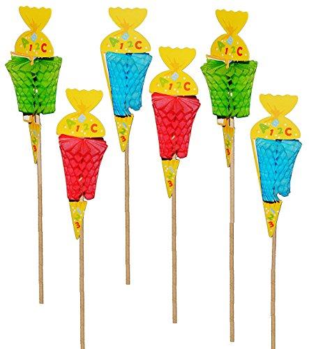 6 tlg. Set: 3-D Aufstecker / Schultüten am Stiel - als Tischdekoration zum Schulanfang / Kindergeburtstag - Basteln Dekoration Schulbeginn Seidenpapier Pompom - Fächer Streumaterial - Einschulung - Zuckertüten - Stecker Gesteck Blumengesteck Deko - Eßtisch - Pappteller Basteln Für Kinder