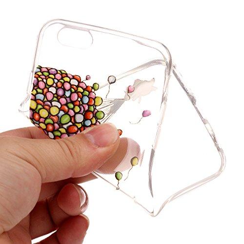 iPhone 6 Hülle, iPhone 6S Hülle Transparent, iPhone 6 6S Hülle TPU Case Schutzhülle Silikon Case, Cozy Hut ®[Liquid Crystal] 3D Romantik Flower Animal Cartoon Series Transparent Weiche Silikon Malerei Ballon