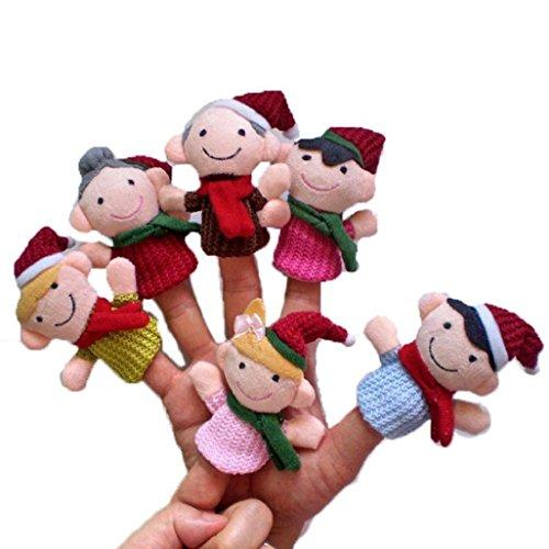 Auxma 6pc Story Time Christmas Claus y los amigos de juguete Puppets dedo educativo