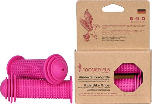 PROMETHEUS Kinderfahrradgriffe 1 Paar in Rosa Pink | mit Sicherheitsende auch für Laufrad und Roller | 22 mm Lenker-Griffe | Kindersicherheitsgriffe mit Sicherheitsprallkopf | Edition 2018
