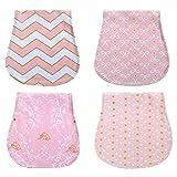 4 Pezzi Bavaglini Neonato, Bavaglino bandana Panni Del Rutto Cotone Pannolini Panno per allattamento al seno (ragazza)
