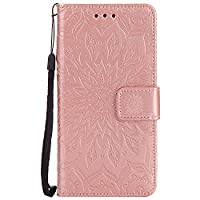 LG G6 Case [with Free Tempered Glass Screen Protector], BoxTiiŽ Leather Wallet Case with Lanyard Strap and Card Holder for LG G6, Shockproof Design Protective Cover and Flip Case for LG G6 (#8 Rose gold)