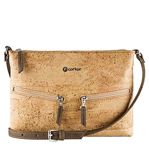 Travel Cross-Body Bag for Women - Front Pockets - Vegan Light Brown Cork from Corkor