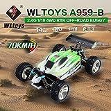 WLtoys A959-B 2.4G 1/18 Escala 4WD 70KM / h Eléctrico RC Car RTR Off-road Buggy, verde
