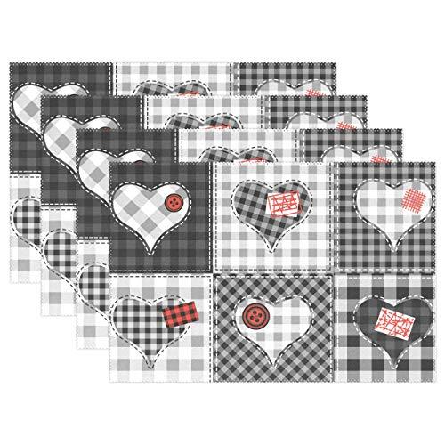 Xianghefu tovagliette san valentino cuore plaid patchwork 12x18 pollici resistente al calore set di 4 antiscivolo per tavolo da pranzo
