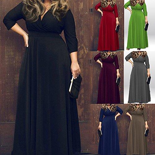 Hrph V Profond Femme Sexy Robe Nouveaux Solid Color Full - Longeait Party Dress Clubwear Café