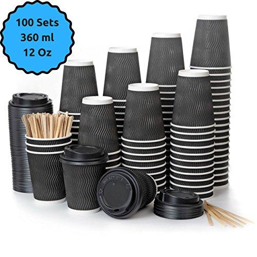 100 Vasos Desechables Ondulación Negra de Doble Pared de Café Para Llevar - Vasos Carton 360 ml 12 Onzas con Tapas y Agitadores de Madera para Servir el Café, el Té, Bebidas Calientes y Frías