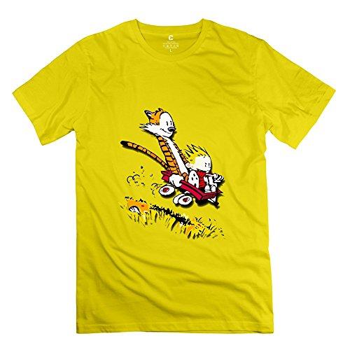 KST Herren-T-Shirt, mit coolem Calvin-und-Hobbes-Motiv, Rundhalsausschnitt Gr. M, gelb Griffin Rugby