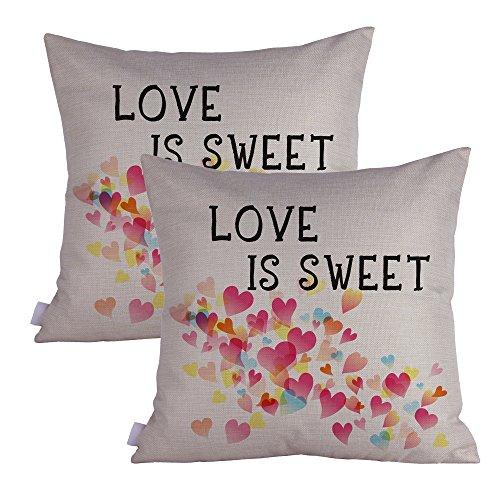 Queenie®–2PCS alle über die Liebe QUOTABLE Zitate Bedeutungsvolles Englische Beschriftung Dekorative Kissenbezug Dick Kissenbezug 45,7x 45,7cm 45x 45cm, baumwolle, Love is sweet, temperory