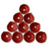 Tiedribbons® Diya For Decoration | Diya For Puja | Diya Holder Decorative | Diya Lamps For Pooja | Diwali Gifts And Decoration(Set Of 10, Handmade)