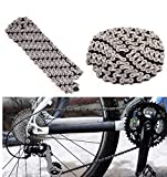 WESEEDOO Cadenas de Bicicleta, 116 Cadenas de Bicicleta de Enlace 6/7/8 Cadenas de Ciclo de Velocidad Cadena de Bicicleta Fuerte Gris Plateado