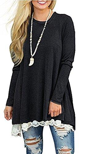 Gaatpot Damen Pullover A-Line Lace Kleider Winter Herbst Pulloverkleid Casual Mini Kleid T Shirt Bluse Tops Plus Size (Size Plus T-shirt-kleider)