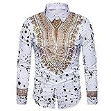 Oliviavan,Herren Herbst Casual African Print Pullover Langarm Shirt Top Bluse Retro Bequem Stil männliches zufälliges Langes Hülsen Hemd Herbst Winter Kleidung