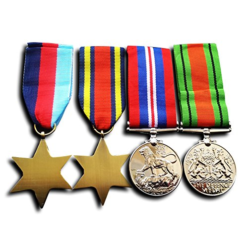 Image of Military Medals 4x Set 1945 star Burma Star War Medal & Defence Medal WW2 Repro