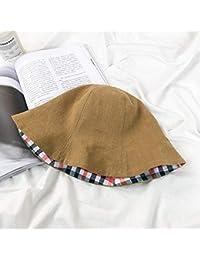 Y-XM Doble Lado Usable Cuenca Sombreros Algodón Lino con Enrejado Raya  Plegable Anti- 1aa8b1f34ae