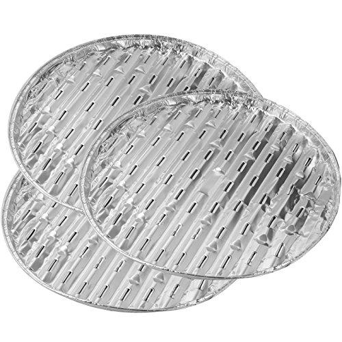 Fackelmann BBQ Barquette de Barbecue Rond 33x1,5cm 3 pièces en Aluminium, Argent, 33x15x2,5 cm