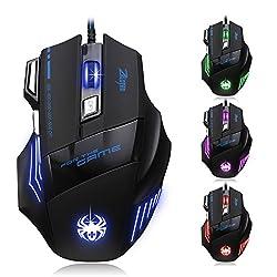 [T80 Dland Zelotes Professionelle optische LED-Maus mit 7.200DPI, 7Tasten und USB-Kabel, für Gamer - Verstellbarer DPI-Schalter 7.200/3.200/2.400/1.600/1.000 DPI für Pro-Game-Notebook-Computer