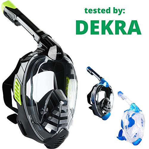 Khroom Masque intégral CO2 Safe Snorkel Mask 2019 - Masque de plongée Seaview X pour Adultes et Enfants. (S/M, Vert)