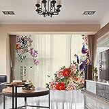 RLF LF Home Fensterdekoration 3D Digitale Blumen Vorhänge Des Fadens Shading Liner Vorhangplatte Peacock Muster Schlafzimmer Durch,Beige,100Cm*250Cm