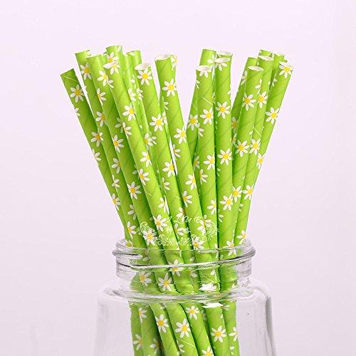 daorier Lederpolster Colorful Einweg Papier Trinkhalme Hochzeit Geburtstag Party Supplies Drink Saft 19.7 cm Grün/Blumen