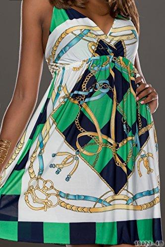 4360 Fashion4Young mini robe à bretelles pour femme avec col v profond robe verfüg.in 5 coloris disponibles taille 34/36 - Grün Multicolor