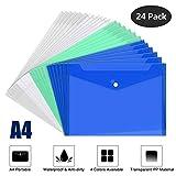 Fayttoli - Cartelline portadocumenti in plastica con bottone, formato A4, 24 pezzi, colore: trasparente, bianco, verde, blu