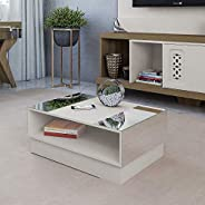 Coffee Table With Mirrors Artely Detroit, Off White Beige - W 90.5 cm x D 59 cm x H 35.5 cm