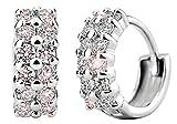 korpikus® Jewel verkrustete Kristall Strass zweireihig Silber Metall-Band-Ohrringe KOSTENLOSER Organza-Geschenk-Beutel!