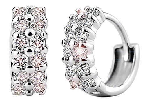 korpikus Jewel Encrusted Crystal Rhinestone Double Row Silver Metal Hoop Earrings In FREE Organza Gift Bag!