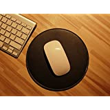 Haodasi Microfiber Leather Round Mouse Pad Mouse Mat Cojín De Ratón Alfombrilla Para El Ratón for Magic Mouse PC Laptop Computer Office Mouse Black w/white line