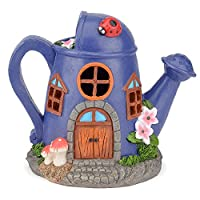 CHRISTOW Solar Powered Watering Can Teapot Fairy House