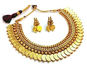 YouBella Jewellery Pearl Temple Coin Traditional Necklace Set for Women Party wear Jewellery with Earrings for Women