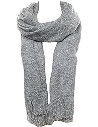 Mevina Schal Wollschal XXL mit Fransen und Wolle Winterschal groß rechteckig Schal