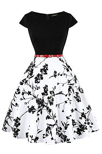 MisShow Damen Rockabilly Petticoat Kleider Audrey Hepburn Vintage Kleid Rund-Ausschnitt Kurz Arm Festliches Kleid Geblühmt Kurzes Kleid Vintage Rock