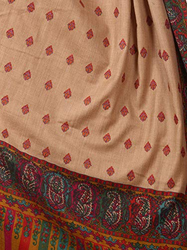 7c1a6db8f0 Pashtush Womens Kalamkari Embroidery Pashmina Shawl, Multicoloured Silk  Thread and Needlework, Kashmiri Embroidery Design.