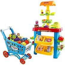 deAO Supermercado – Puesto de Mercado con Carrito de la Compra y Más de 30 Accesorios y Productos Incluidos